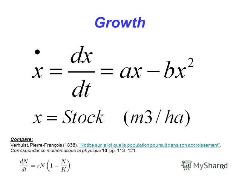 10 Growth Compare: Verhulst, Pierre-François (1838). Notice sur la loi que la population poursuit dans son accroissement.Notice sur la loi que la population poursuit dans son accroissement Correspondance mathématique et physique 10: pp. 113–121.