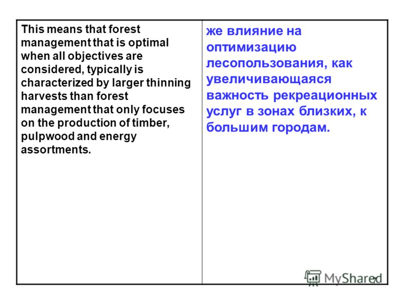 7 This means that forest management that is optimal when all objectives are considered, typically is characterized by larger thinning harvests than forest management that only focuses on the production of timber, pulpwood and energy assortments. же в