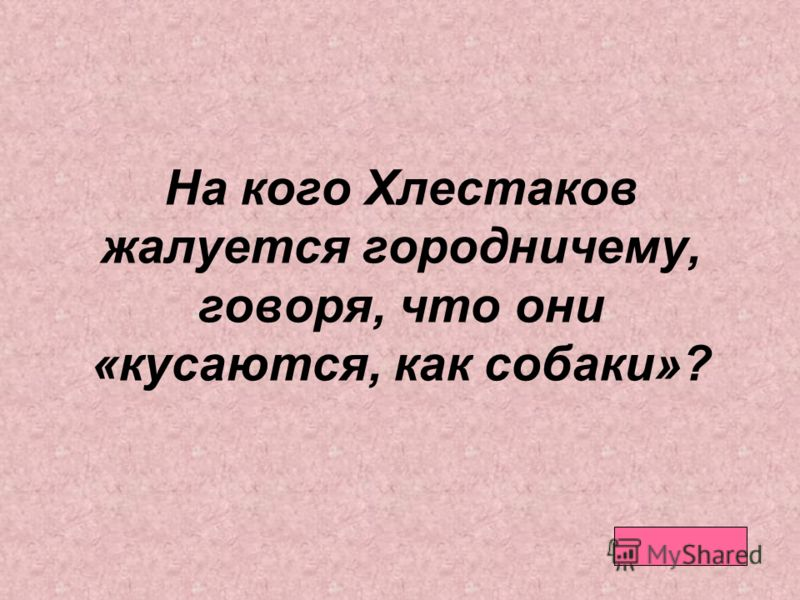 На кого Хлестаков жалуется городничему, говоря, что они «кусаются, как собаки»?