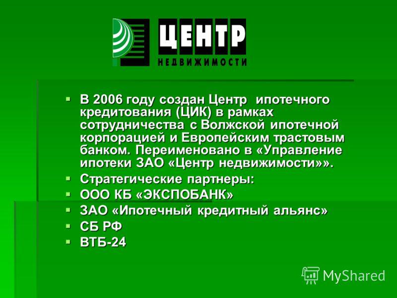В 2006 году создан Центр ипотечного кредитования (ЦИК) в рамках сотрудничества с Волжской ипотечной корпорацией и Европейским трастовым банком. Переименовано в «Управление ипотеки ЗАО «Центр недвижимости»». В 2006 году создан Центр ипотечного кредито