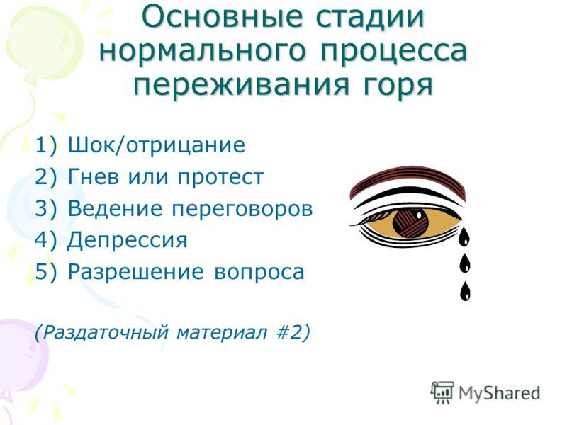Основные стадии нормального процесса переживания горя 1)Шок/отрицание 2)Гнев или протест 3)Ведение переговоров 4)Депрессия 5)Разрешение вопроса (Раздаточный материал #2)