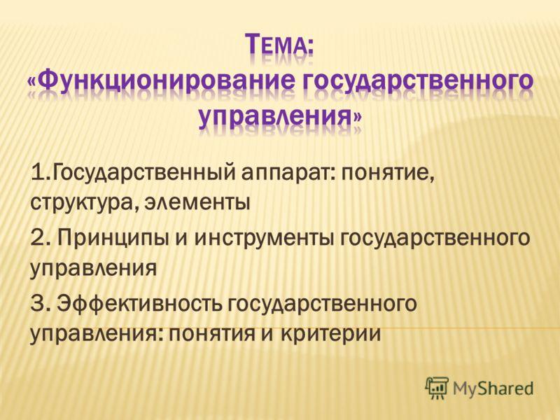 1.Государственный аппарат: понятие, структура, элементы 2. Принципы и инструменты государственного управления 3. Эффективность государственного управления: понятия и критерии