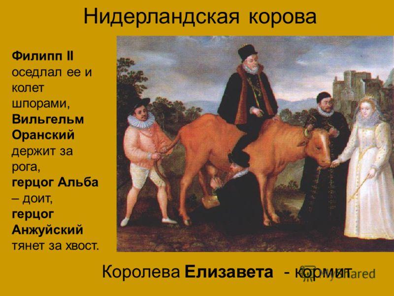 Нидерландская корова Филипп II оседлал ее и колет шпорами, Вильгельм Оранский держит за рога, герцог Альба – доит, герцог Анжуйский тянет за хвост. Королева Елизавета - кормит