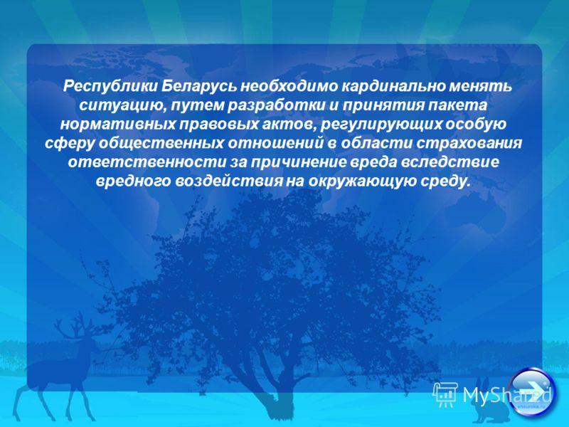 Республики Беларусь необходимо кардинально менять ситуацию, путем разработки и принятия пакета нормативных правовых актов, регулирующих особую сферу общественных отношений в области страхования ответственности за причинение вреда вследствие вредного
