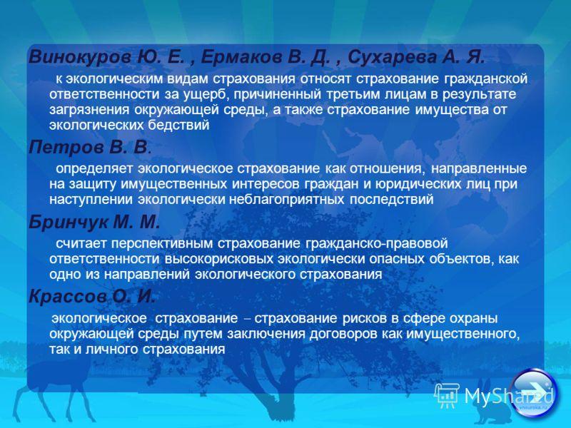 Винокуров Ю. Е., Ермаков В. Д., Сухарева А. Я. к экологическим видам страхования относят страхование гражданской ответственности за ущерб, причиненный третьим лицам в результате загрязнения окружающей среды, а также страхование имущества от экологиче