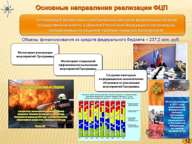 Основные направления реализации ФЦП 12 Объемы финансирования из средств федерального бюджета – 237,2 млн. руб. Мониторинг реализации мероприятий Программы Мониторинг социальной эффективности выполнения мероприятий Программы Создание ежегодных информа