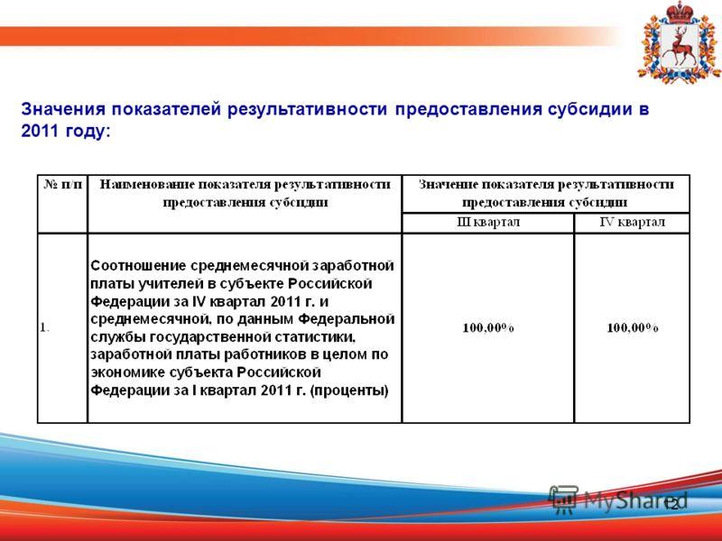12 Значения показателей результативности предоставления субсидии в 2011 году: