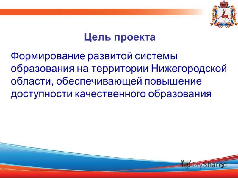 2 Цель проекта Формирование развитой системы образования на территории Нижегородской области, обеспечивающей повышение доступности качественного образования