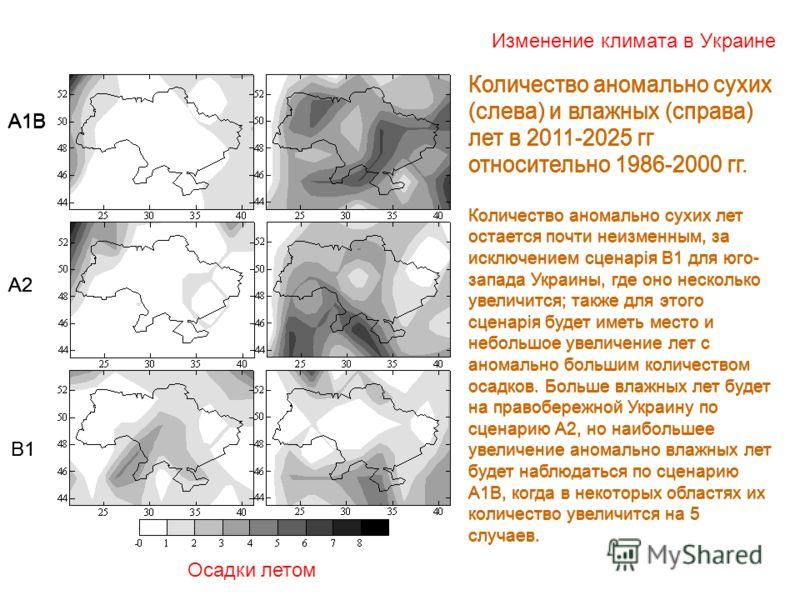 Изменение климата в Украине Осадки летом А1В А2 В1 Количество аномально сухих (слева) и влажных (справа) лет в 2011-2025 гг относительно 1986-2000 гг. Количество аномально сухих лет остается почти неизменным, за исключением сценарія В1 для юго- запад