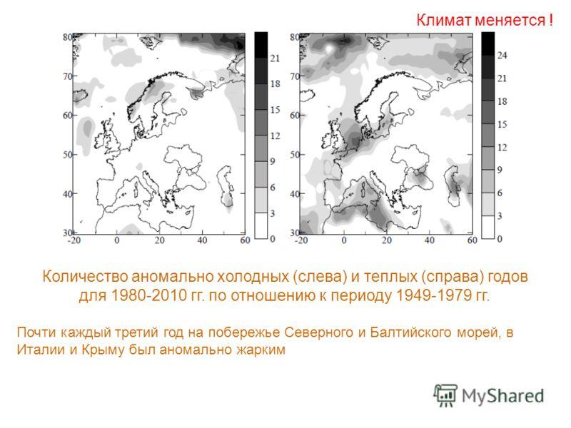 Количество аномально холодных (слева) и теплых (справа) годов для 1980-2010 гг. по отношению к периоду 1949-1979 гг. Почти каждый третий год на побережье Северного и Балтийского морей, в Италии и Крыму был аномально жарким Климат меняется !