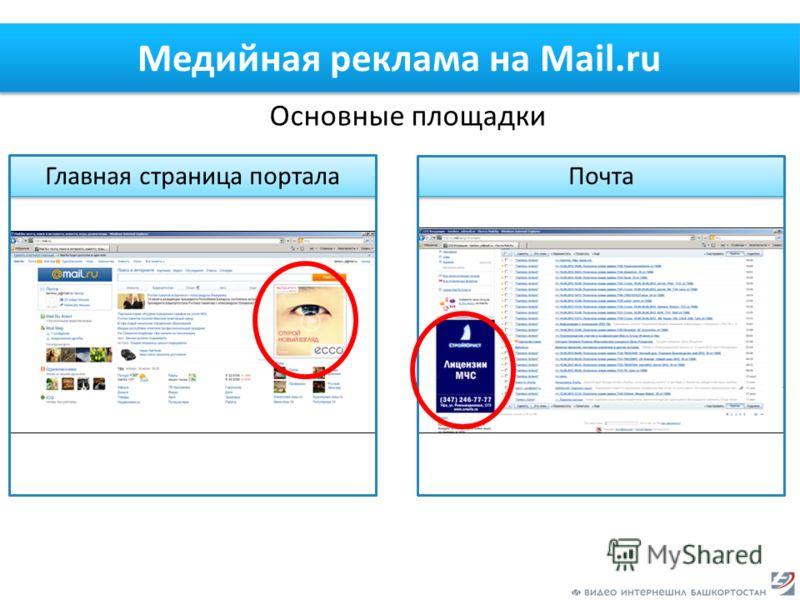 Медийная реклама на Mail.ru Основные площадки Главная страница портала Почта