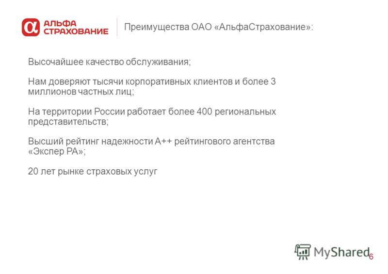 6 Преимущества ОАО «АльфаСтрахование»: Высочайшее качество обслуживания; Нам доверяют тысячи корпоративных клиентов и более 3 миллионов частных лиц; На территории России работает более 400 региональных представительств; Высший рейтинг надежности А++
