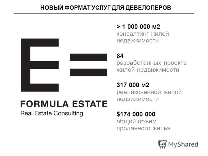 > 1 000 000 м2 консалтинг жилой недвижимости 84 разработанных проекта жилой недвижимости 317 000 м2 реализованной жилой недвижимости $174 000 000 общий объем проданного жилья НОВЫЙ ФОРМАТ УСЛУГ ДЛЯ ДЕВЕЛОПЕРОВ