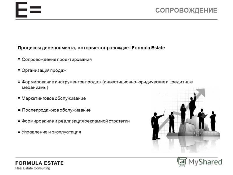 СОПРОВОЖДЕНИЕ Процессы девелопмента, которые сопровождает Formula Estate = Сопровождение проектирования = Организация продаж = Формирование инструментов продаж (инвестиционно-юридические и кредитные механизмы) = Маркетинговое обслуживание = Послепрод