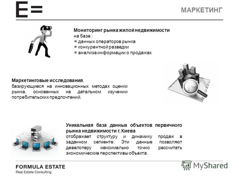 МАРКЕТИНГ Маркетинговые исследования, базирующиеся на инновационных методах оценки рынка, основанных на детальном изучении потребительских предпочтений. Мониторинг рынка жилой недвижимости на базе : = данных операторов рынка = конкурентной разведки =