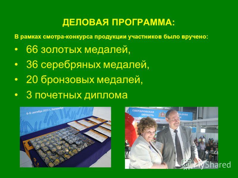 ДЕЛОВАЯ ПРОГРАММА: В рамках смотра-конкурса продукции участников было вручено: 66 золотых медалей, 36 серебряных медалей, 20 бронзовых медалей, 3 почетных диплома