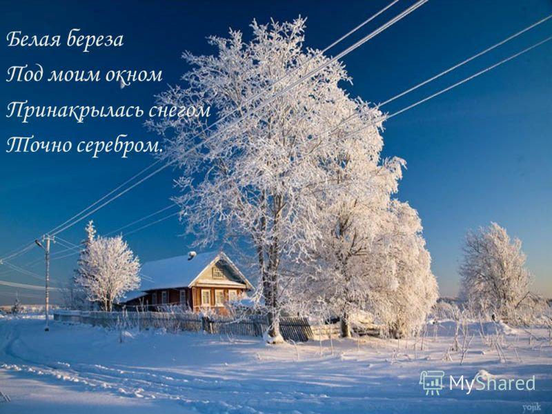 Белая береза Под моим окном Принакрылась снегом Точно серебром.