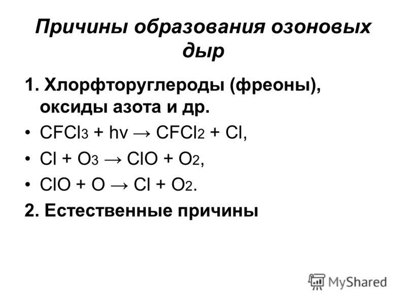 Причины образования озоновых дыр 1. Хлорфторуглероды (фреоны), оксиды азота и др. CFCl 3 + hν CFCl 2 + Cl, Cl + O 3 ClO + O 2, ClO + O Cl + O 2. 2. Естественные причины