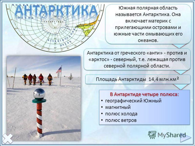 Южная полярная область называется Антарктика. Она включает материк с прилегающими островами и южные части омывающих его океанов. Антарктика от греческого «анти» - против и «арктос» - северный, т.е. лежащая против северной полярной области. Площадь Ан