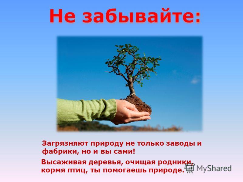Загрязняют природу не только заводы и фабрики, но и вы сами! Высаживая деревья, очищая родники, кормя птиц, ты помогаешь природе.