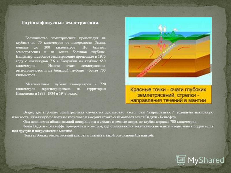Глубиной очага землетрясений (h) называется расстояние от поверхности Земли по нормали до гипоцентра, или очага. Существуют разнообразные методы определения глубины залегания очагов. Один из таких методов был предложен С. В. Медведевым: - площадь, ог