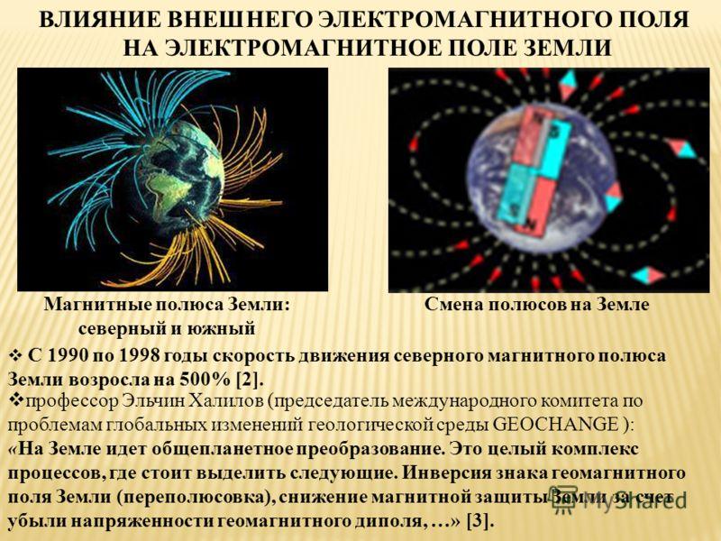 ВЛИЯНИЕ ВНЕШНЕГО ЭЛЕКТРОМАГНИТНОГО ПОЛЯ НА ЭЛЕКТРОМАГНИТНОЕ ПОЛЕ ЗЕМЛИ Магнитные полюса Земли: северный и южный Смена полюсов на Земле С 1990 по 1998 годы скорость движения северного магнитного полюса Земли возросла на 500% [2]. профессор Эльчин Хали