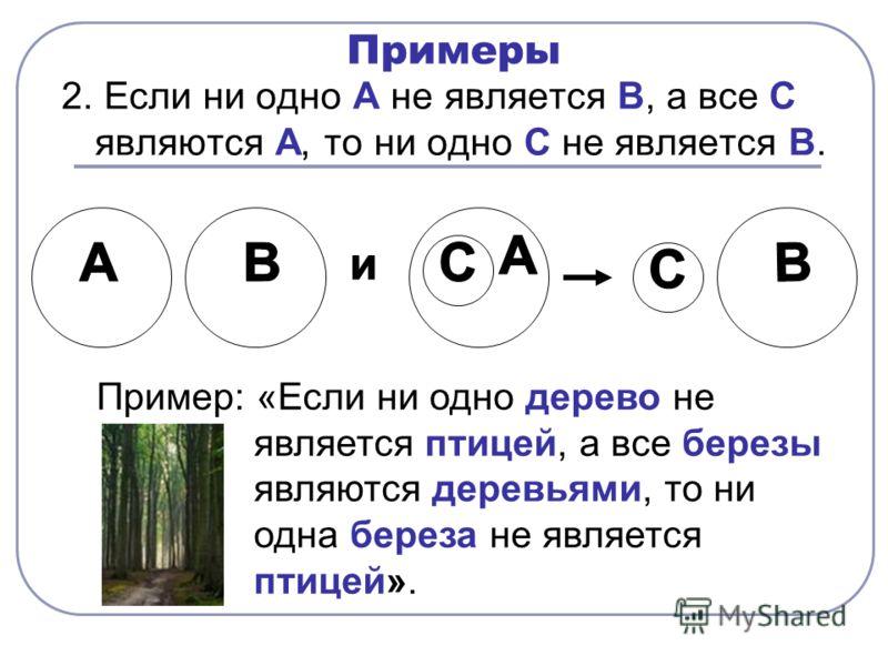 Примеры 2. Если ни одно А не является В, а все С являются А, то ни одно С не является В. Пример: «Если ни одно дерево не является птицей, а все березы являются деревьями, то ни одна береза не является птицей».