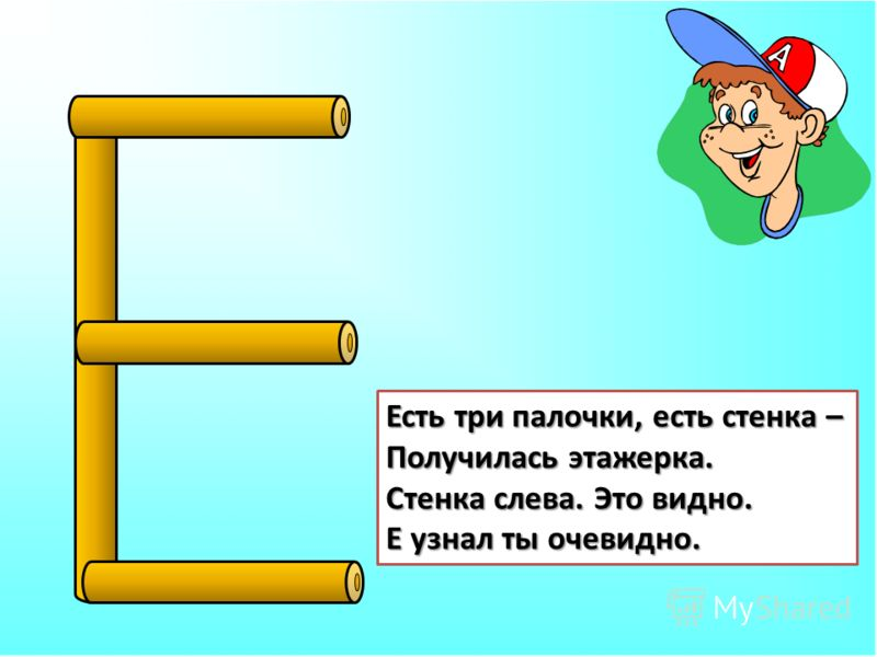 Есть три палочки, есть стенка – Получилась этажерка. Стенка слева. Это видно. Е узнал ты очевидно.