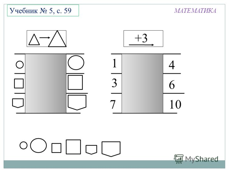 МАТЕМАТИКА Учебник 5, с. 59 +3 7 6 1 3 4 10
