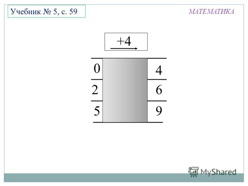 МАТЕМАТИКА Учебник 5, с. 59 +4 9 2 4 5 6 0