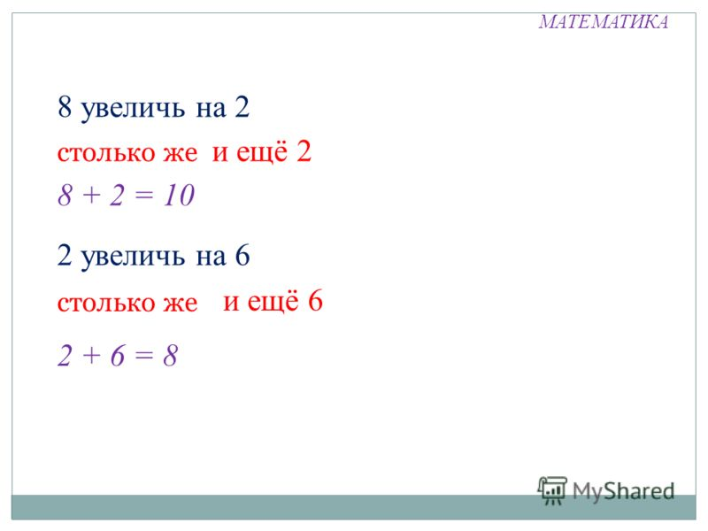 МАТЕМАТИКА 8 увеличь на 2 столько же и ещё 2 8 + 2 = 10 2 увеличь на 6 столько же и ещё 6 2 + 6 = 8