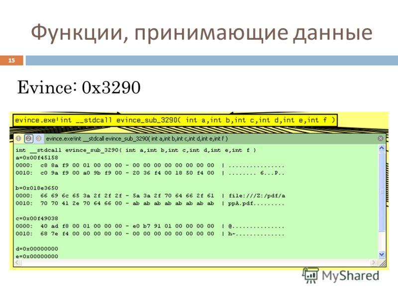 Функции, принимающие данные Evince: 0x3290 15