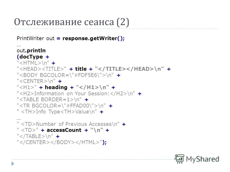 Отслеживание сеанса (2) PrintWriter out = response.getWriter(); … out.println (docType +