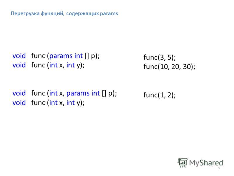 Перегрузка функций, содержащих params void func (params int [] p); void func (int x, int y); void func (int x, params int [] p); void func (int x, int y); func(3, 5); func(10, 20, 30); func(1, 2); 5
