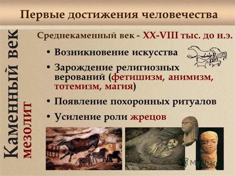 Первые достижения человечества Среднекаменный век - Возникновение искусства Зарождение религиозных верований (фетишизм, анимизм, тотемизм, магия) Появление похоронных ритуалов Усиление роли жрецов XX-VIII тыс. до н.э.