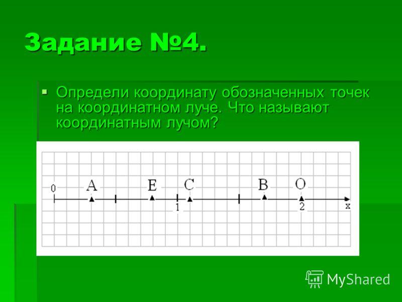Задание 4. Определи координату обозначенных точек на координатном луче. Что называют координатным лучом? Определи координату обозначенных точек на координатном луче. Что называют координатным лучом?