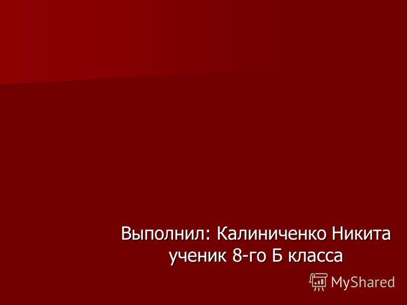 Выполнил: Калиниченко Никита ученик 8-го Б класса