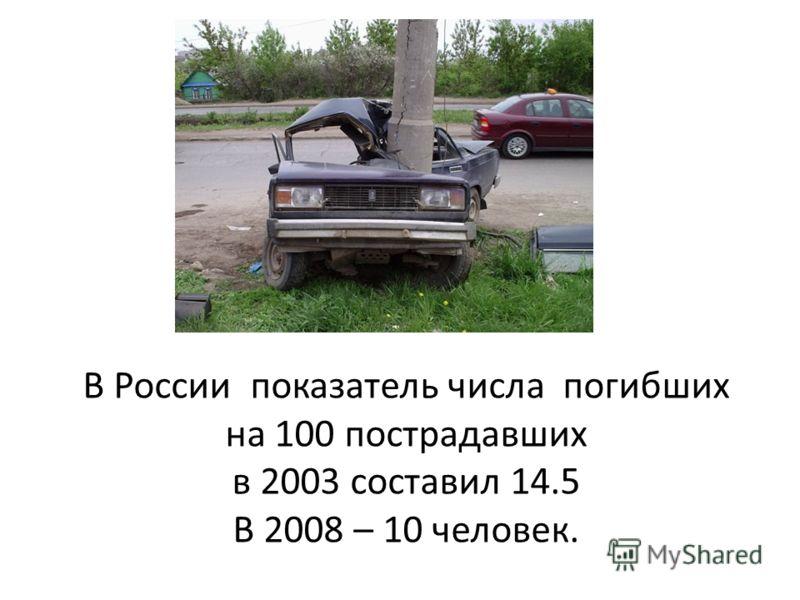 В России показатель числа погибших на 100 пострадавших в 2003 составил 14.5 В 2008 – 10 человек.