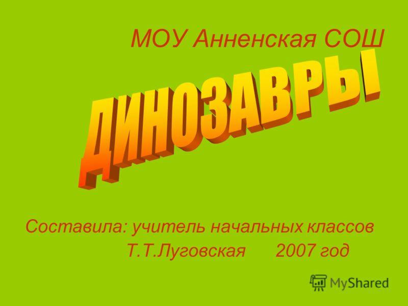 МОУ Анненская СОШ Составила: учитель начальных классов Т.Т.Луговская 2007 год