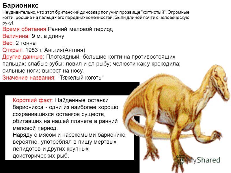 Барионикс Неудивительно, что этот британский динозавр получил прозвище