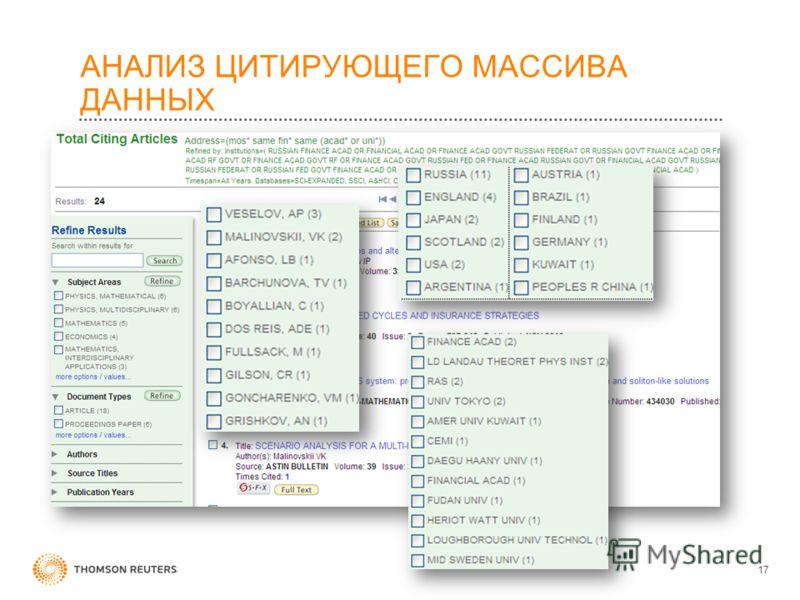 АНАЛИЗ ЦИТИРУЮЩЕГО МАССИВА ДАННЫХ 17