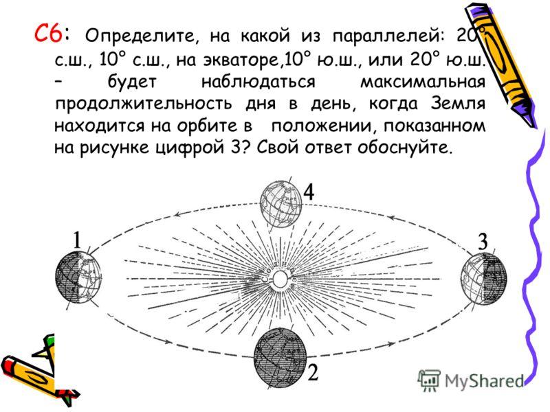 С6: Определите, на какой из параллелей: 20° с.ш., 10° с.ш., на экваторе,10° ю.ш., или 20° ю.ш. – будет наблюдаться максимальная продолжительность дня в день, когда Земля находится на орбите в положении, показанном на рисунке цифрой 3? Свой ответ обос