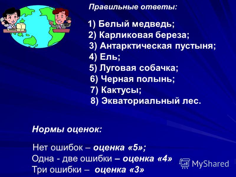 Правильные ответы: 1) Белый медведь; 2) Карликовая береза; 3) Антарктическая пустыня; 4) Ель; 5) Луговая собачка; 6) Черная полынь; 7) Кактусы; 8) Экваториальный лес. Нормы оценок: Нет ошибок – оценка «5»; Одна - две ошибки – оценка «4» Три ошибки –