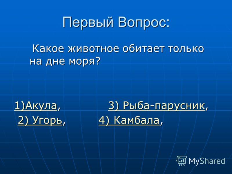 Первый Вопрос: Какое животное обитает только на дне моря? Какое животное обитает только на дне моря? 1)Акула1)Акула, 3) Рыба-парусник, 3) Рыба-парусник 1)Акула3) Рыба-парусник 2) Угорь, 4) Камбала, 2) Угорь, 4) Камбала,2) Угорь4) Камбала2) Угорь4) Ка
