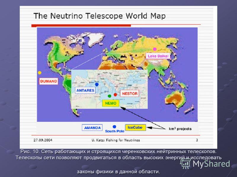 Рис. 10. Сеть работающих и строящихся черенковских нейтринных телескопов. Телескопы сети позволяют продвигаться в область высоких энергий и исследовать законы физики в данной области.