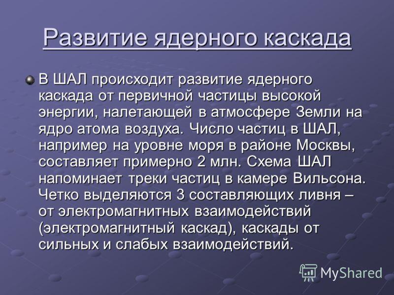 Развитие ядерного каскада В ШАЛ происходит развитие ядерного каскада от первичной частицы высокой энергии, налетающей в атмосфере Земли на ядро атома воздуха. Число частиц в ШАЛ, например на уровне моря в районе Москвы, составляет примерно 2 млн. Схе