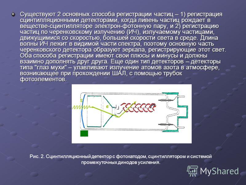 Существуют 2 основных способа регистрации частиц – 1) регистрация сцинтилляционными детекторами, когда ливень частиц рождает в веществе-сцинтилляторе электрон-фотонную пару, и 2) регистрацию частиц по черенковскому излучению (ИЧ), излучаемому частица