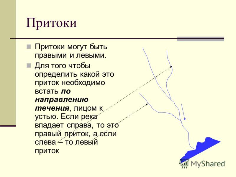 Притоки Притоки могут быть правыми и левыми. Для того чтобы определить какой это приток необходимо встать по направлению течения, лицом к устью. Если река впадает справа, то это правый приток, а если слева – то левый приток