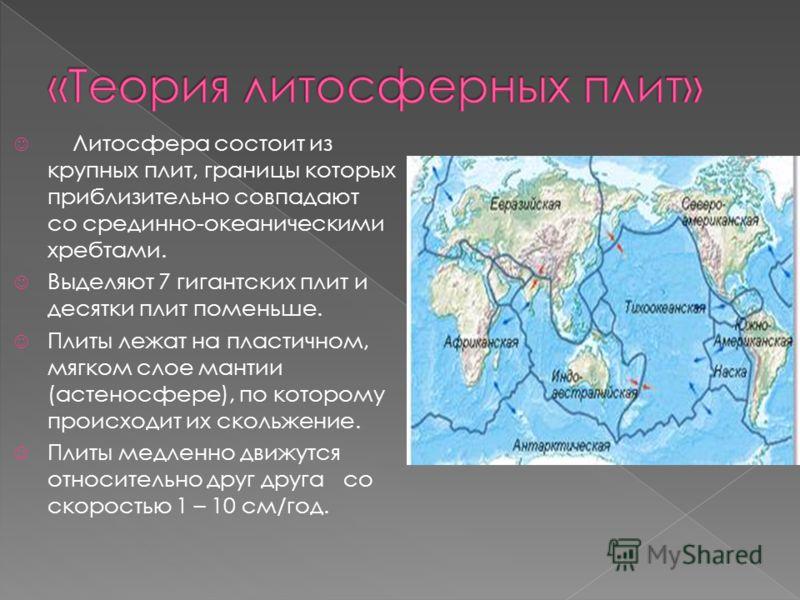 Литосфера состоит из крупных плит, границы которых приблизительно совпадают со срединно-океаническими хребтами. Выделяют 7 гигантских плит и десятки плит поменьше. Плиты лежат на пластичном, мягком слое мантии (астеносфере), по которому происходит их