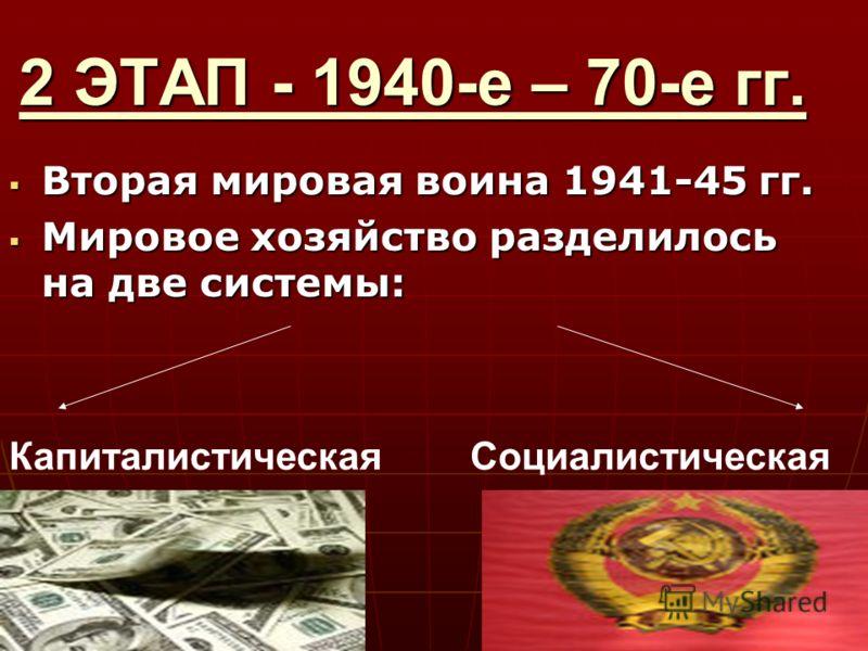 2 ЭТАП - 1940-е – 70-е гг. Вторая мировая воина 1941-45 гг. Вторая мировая воина 1941-45 гг. Мировое хозяйство разделилось на две системы: Мировое хозяйство разделилось на две системы: КапиталистическаяСоциалистическая